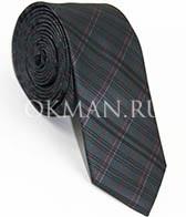 Мужской галстук серого цвета в елочку