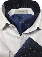 Аскот (мужской шейный платок) и паше темно-синие с белым рисунком
