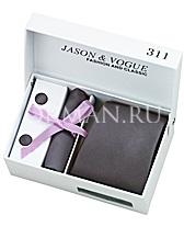 Подарочный набор (темно-серый галстук, платок, запонки)