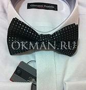 Черная в белый ромб бабочка - галстук