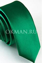 Зеленый узкий галстук однотонный