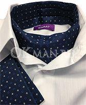 Аскот (мужской шейный платок) синий с рисунком