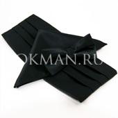 Черный набор из бабочки, платка и кушака 5580