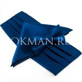 Синий набор из бабочки, платка и кушака 5590