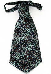 Галстук-пластрон платочной расцветки в голубых и коричневых тонах