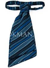 Галстук-пластрон синего цвета в косую полоску