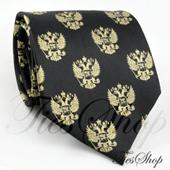 Черный мужской галстук с российским гербом