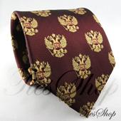 Бордовый мужской галстук с российскими гербами