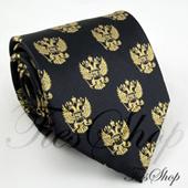 Темно-синий мужской галстук с российскими гербами