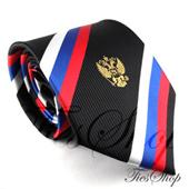 Мужской черный галстук с российской символикой (триколор+герб)