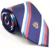 Фиолетовый мужской галстук с российским флагом и гербом