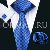 Подарочный набор (синего цвета в шахматный узор шелковый галстук, платок и запонки) без коробки