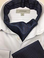 Аскот (мужской шейный платок) и платочек в карман темно-синие с принтом