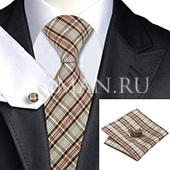 Подарочный набор (галстук, платок и запонки) расцветки мандрас