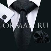 Подарочный набор (галстук, платок и запонки) черного цвета