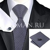 Подарочный набор (темно-синего цвета в бело-розовую клеточку галстук, платок и запонки)
