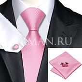 Подарочный набор (розового цвета галстук, платок и запонки)