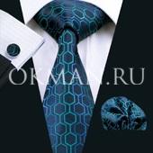 Подарочный набор (синего цвета галстук, платок и запонки)