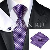 Подарочный набор (пурпурно-розового цвета галстук, платок и запонки)