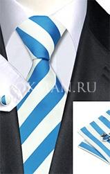 Подарочный набор (шелковые галстук, платок и запонки)