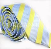 Мужской голубой галстук в лимонную полоску
