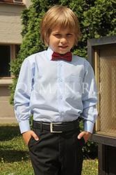 Piero Lusso однотонная голубая рубашка для мальчика