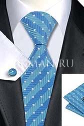 Подарочный набор (голубого цвета галстук, платок и запонки)