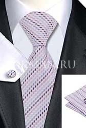 Подарочный набор (сиреневый галстук, платок и запонки)