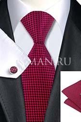 Подарочный набор (бордового цвета галстук, платок и запонки)