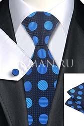 Подарочный набор (галстук в горошек, платок и запонки)