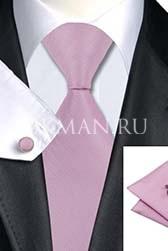 Подарочный набор (сиреневого цвета галстук, платок и запонки)