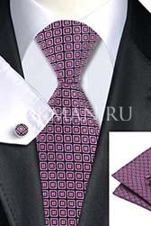Подарочный набор (фиолетовой расцветки галстук, платок и запонки)