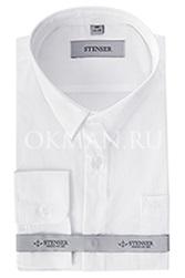 Белая детская, подростковая рубашка однотонная для мальчика Stenser С1001