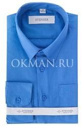 Детская, подростковая ярко-синяя, однотонная рубашка для мальчика Stenser С1006