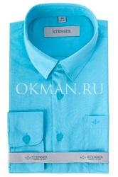 Детская, подростковая бирюзовая, однотонная рубашка для мальчика Stenser С1007