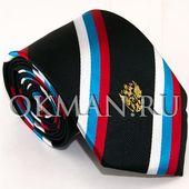 Галстук флаг и герб России gss-763-polosa-black. Черный. -763ssg