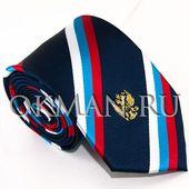 Галстук флаг и герб России gss-764-polosa. Синий. -764ssg