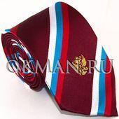 Галстук мужской бордового цвета с флагом и гербом России