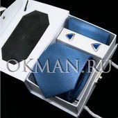 Подарочный набор для мужчин Галстук с платком и запонки Gino Di Milano 8775