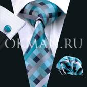 Подарочный набор стильной расцветки (галстук, платок, запонки)