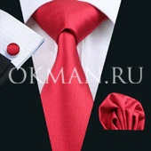 Подарочный набор (красного цвета галстук, платок, запонки)