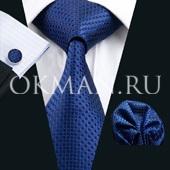 Подарочный набор (черного цвета с рисунком шелковый галстук, платок и запонки) без коробки