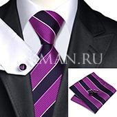 Подарочный набор (сиреневый цвета галстук, платок, запонки)