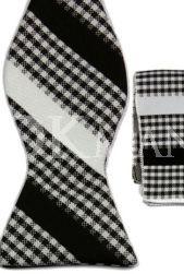Серая в бело-чёрные полоски бабочка-галстук + платок