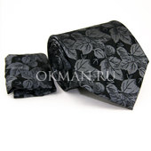 Комплект черно-серого цвета: Галстук, Платок Mario Laube