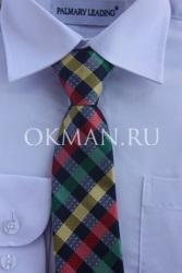 Галстук в разноцветную шотландку для подростка с готовым узлом