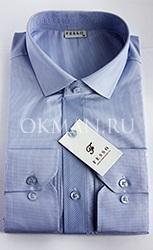 Голубая классическая  мужская рубашка в мелкую клетку Fesso