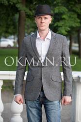 Зауженный серый пиджак с налокотниками Barkland Хаксли