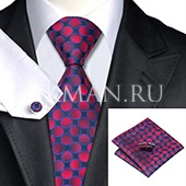 Подарочный набор (черно-красный галстук, платок, запонки)