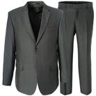 Серый прямой костюм STENSER К924